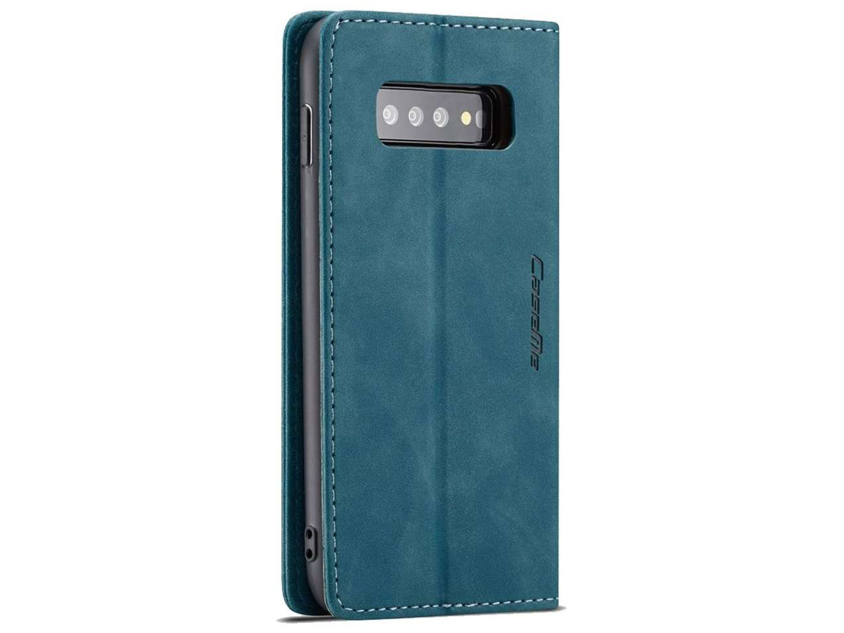CaseMe Vintage BookCase Blauw - Samsung Galaxy S10+ hoesje