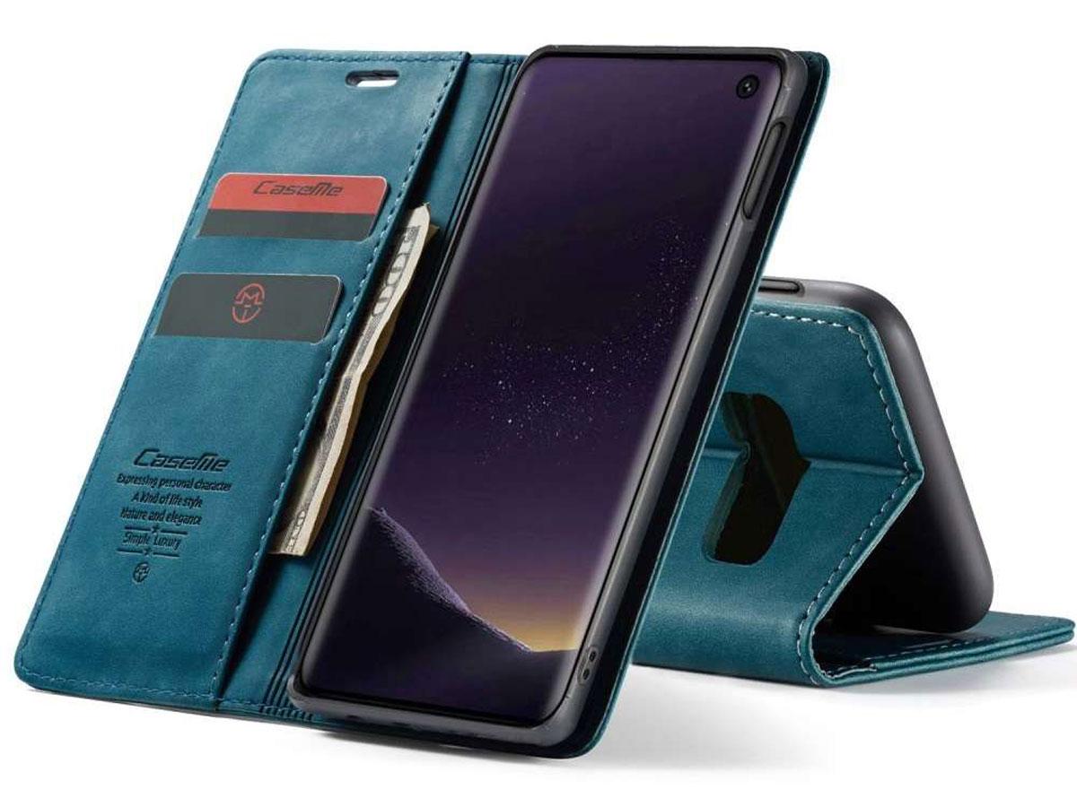 CaseMe Vintage BookCase Blauw - Samsung Galaxy S10e hoesje