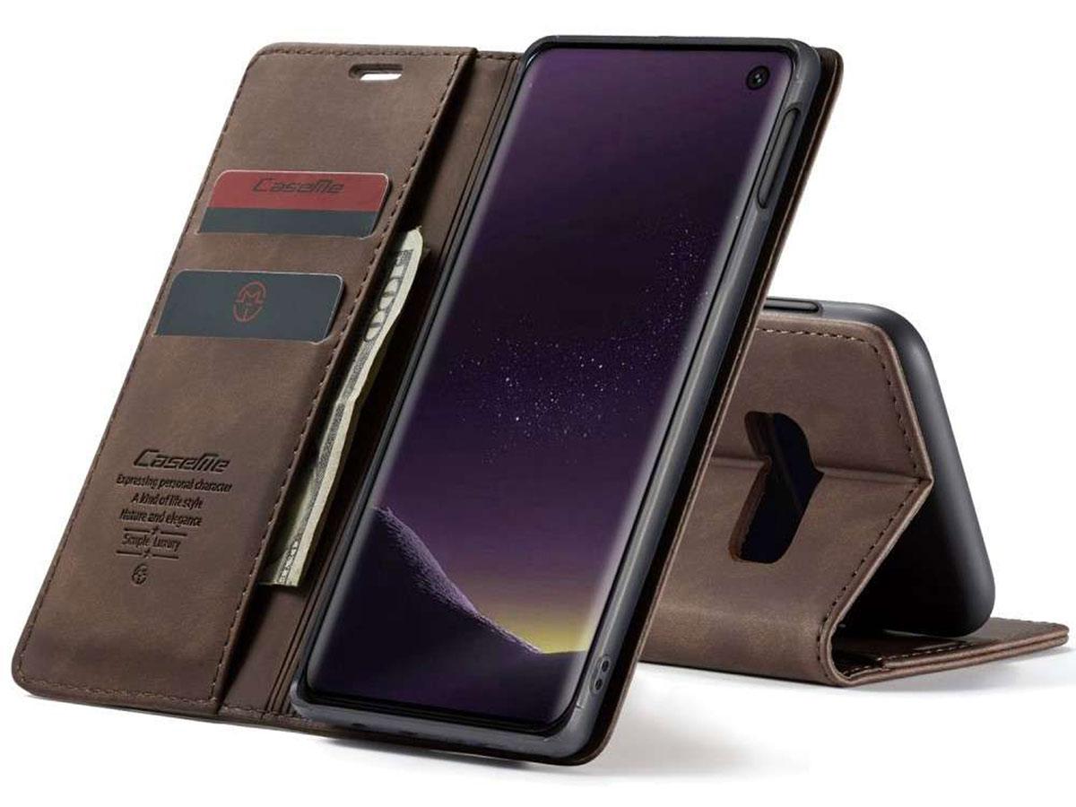 CaseMe Vintage BookCase Bruin - Samsung Galaxy S10e hoesje