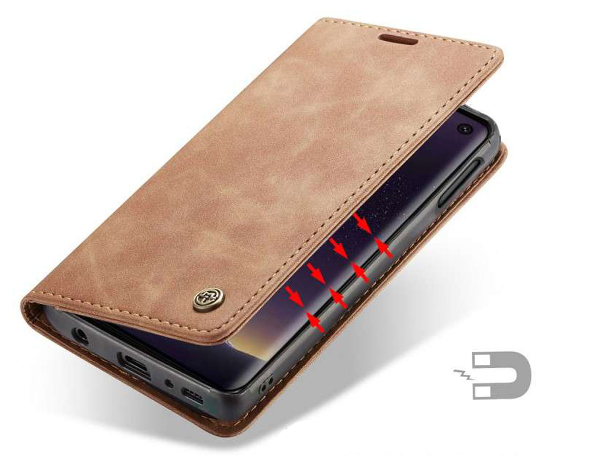 CaseMe Vintage BookCase Tan - Samsung Galaxy S10e hoesje