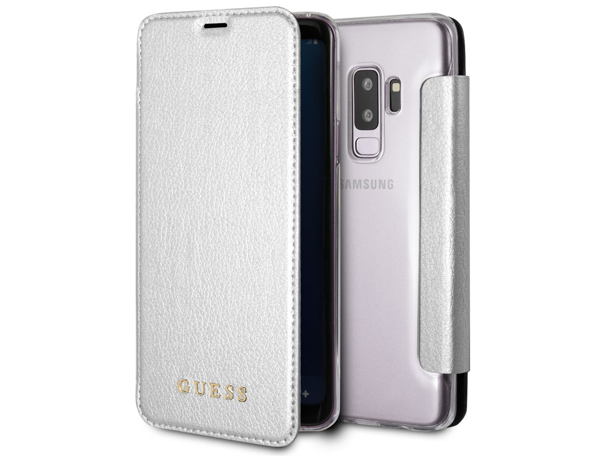 Guess Iridescent Bookcase Zilver - Galaxy S9+ hoesje