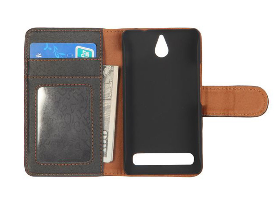 Business Leather Wallet Case - Hoesje voor Sony Xperia E1
