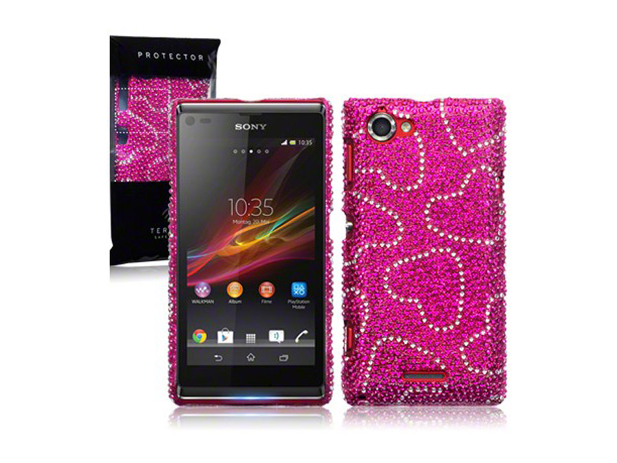 CaseBoutique Hearts Diamante Case Hoesje voor Sony Xperia L
