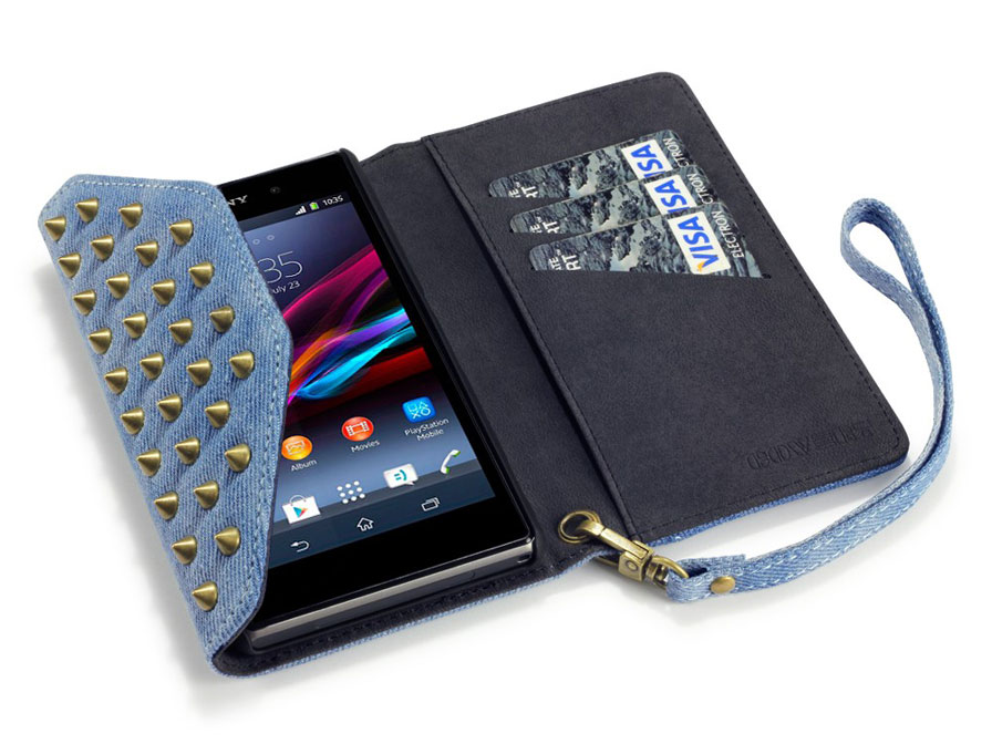 Covert Studded Denim Wallet Case - Hoesje voor Sony Xperia Z1