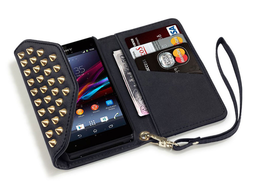 Covert Studded Trifold Wallet - Hoesje voor Sony Xperia Z1 Compact