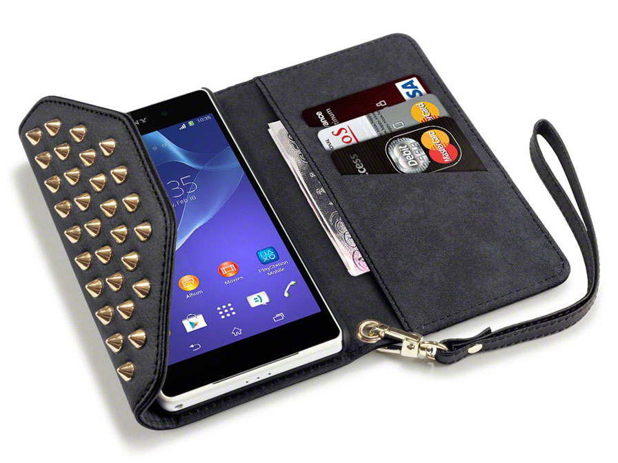 Covert Studded Trifold Wallet Case - Hoesje voor Sony Xperia Z2