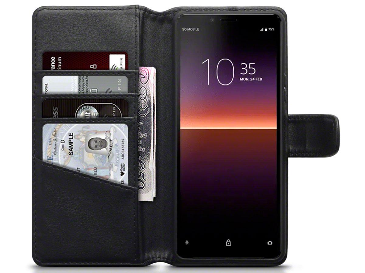 CaseBoutique Wallet Case Zwart Leer - Sony Xperia 10 II hoesje