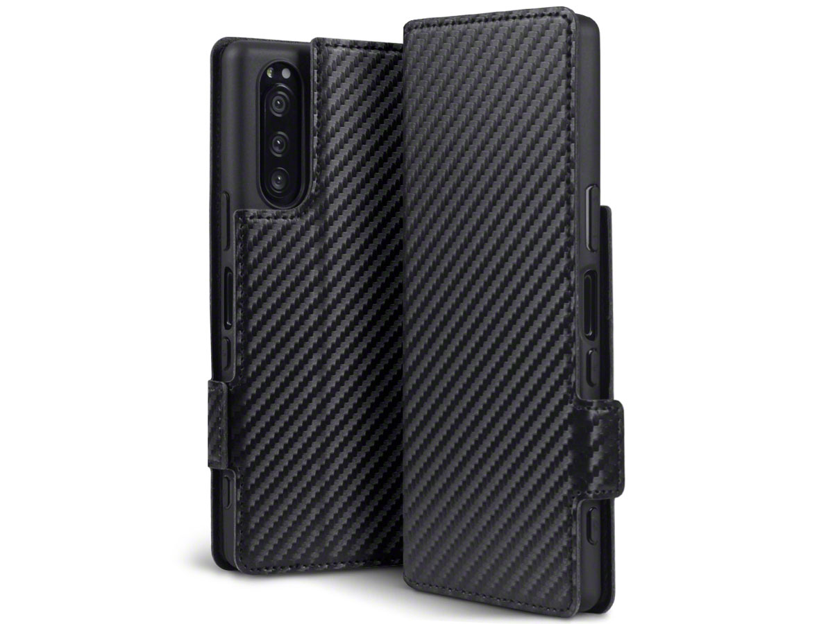CaseBoutique Slim Bookcase Carbon - Sony Xperia 5 hoesje