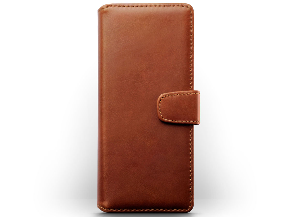 CaseBoutique Leather Wallet Case Cognac - Sony Xperia 5 hoesje