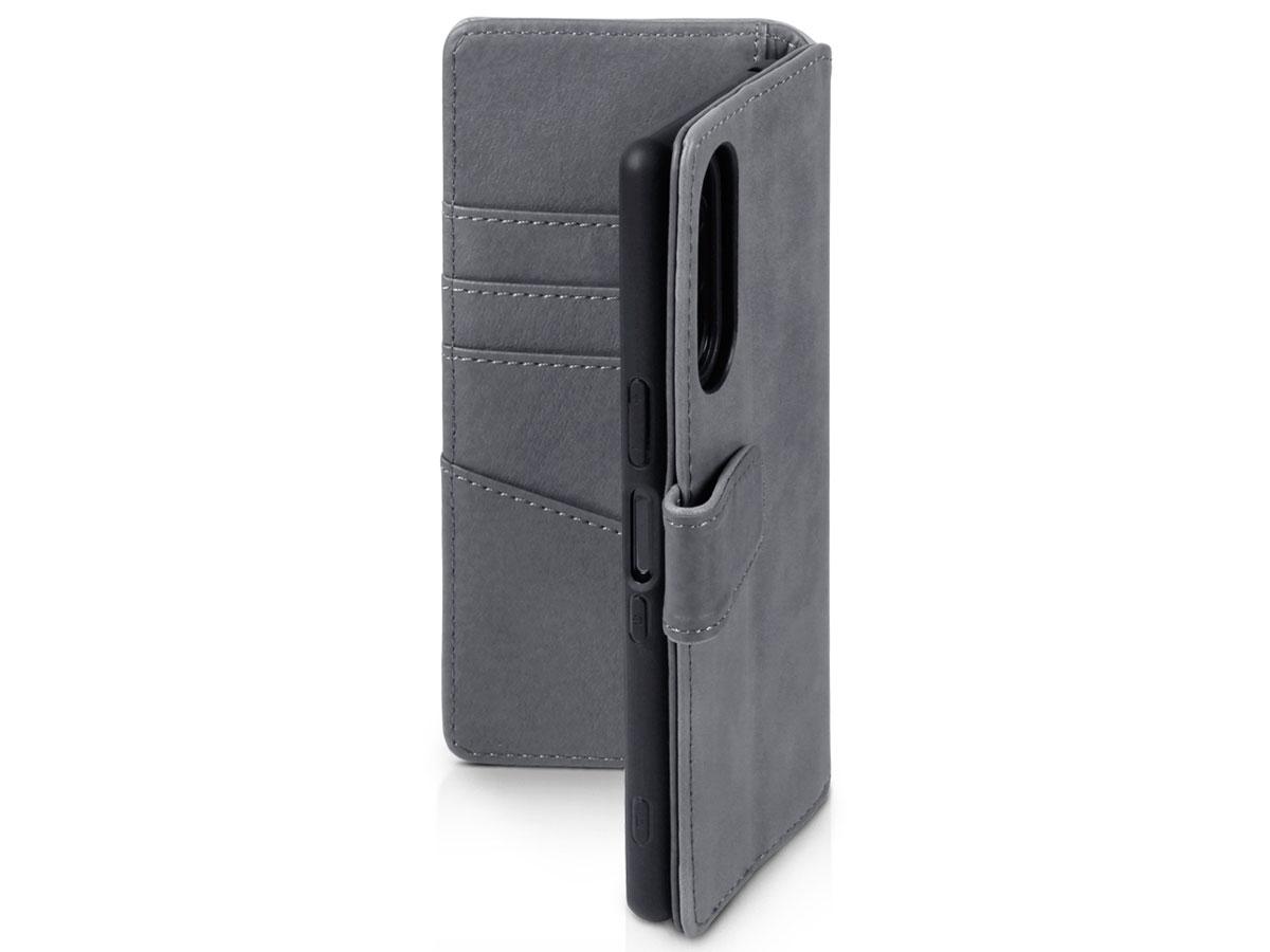 CaseBoutique Leather Wallet Case Grijs - Sony Xperia 5 hoesje