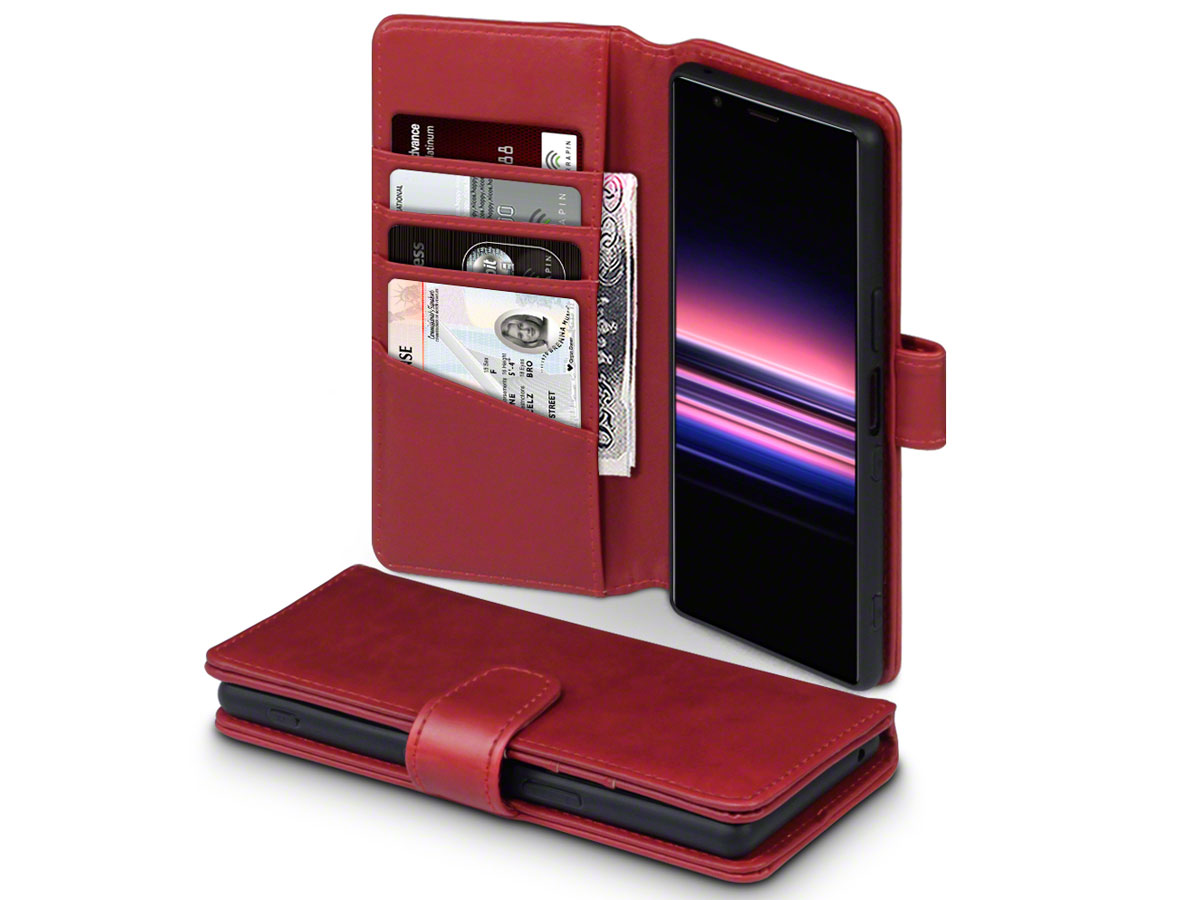 CaseBoutique Leather Wallet Case Rood - Sony Xperia 5 hoesje