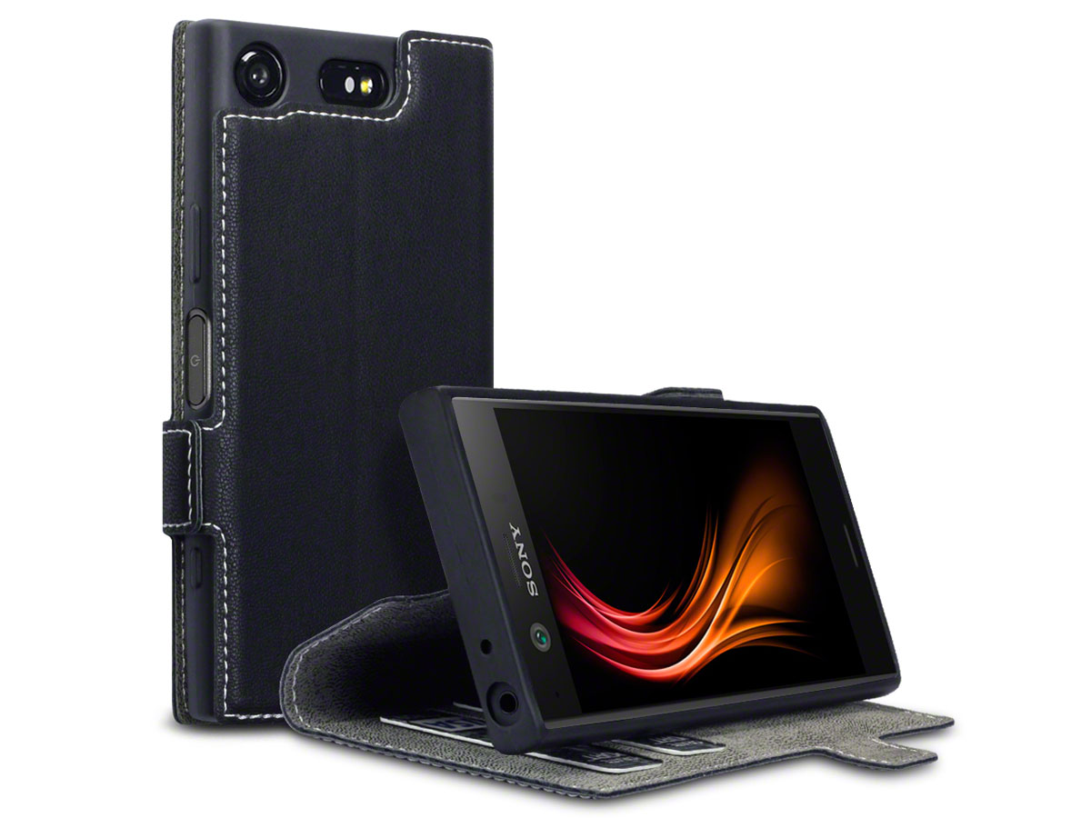 Covert Slim Book Zwart - Sony Xperia XZ1 Compact Hoesje