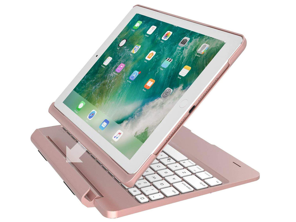 """Bluetooth Toetsenbord Case Afneembaar iPad 9.7"""" Hoesje Rose Rose goud"""
