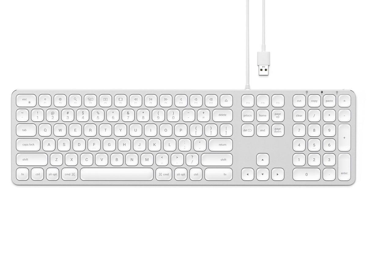 Satechi Aluminum Wired USB Keyboard QWERTY (Silver) Zilver