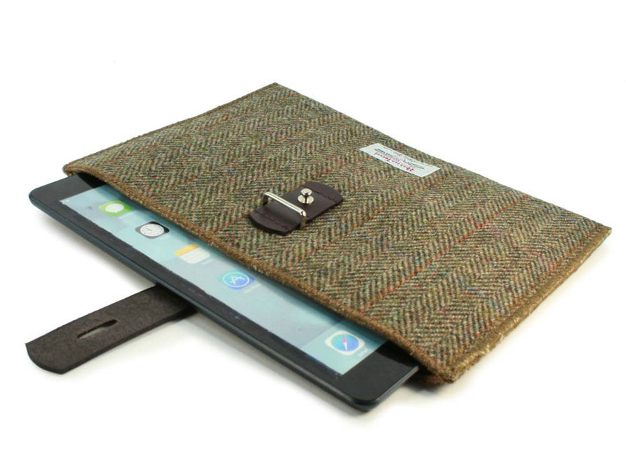 Officiële Harris Tweed Herringbone Brown Tablet Sleeve (10 inch)