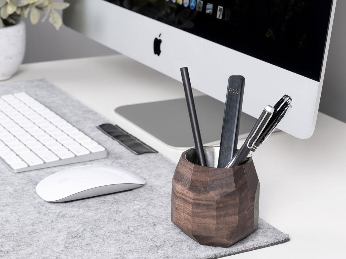 Oakywood Geometric Pen Holder Walnut - Houten Pennenhouder