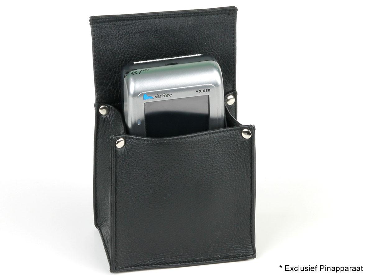 Horeca Holster voor Mobiel Pinapparaat - Zwart Leer
