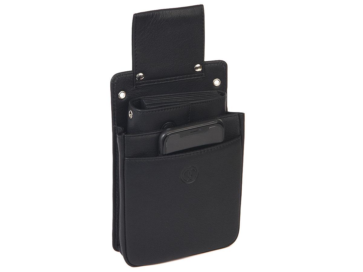 Horeca Holster Slim voor Beurs en iPod/iPhone - Zwart Leer