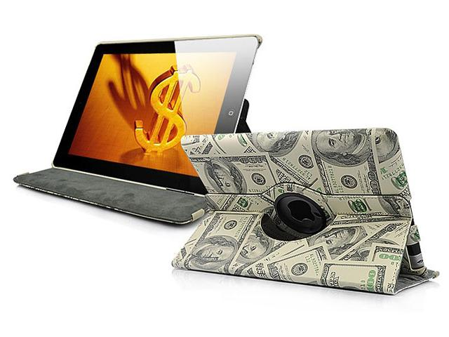 Dollar Swivel Stand 360-turn Case Hoes voor iPad 2