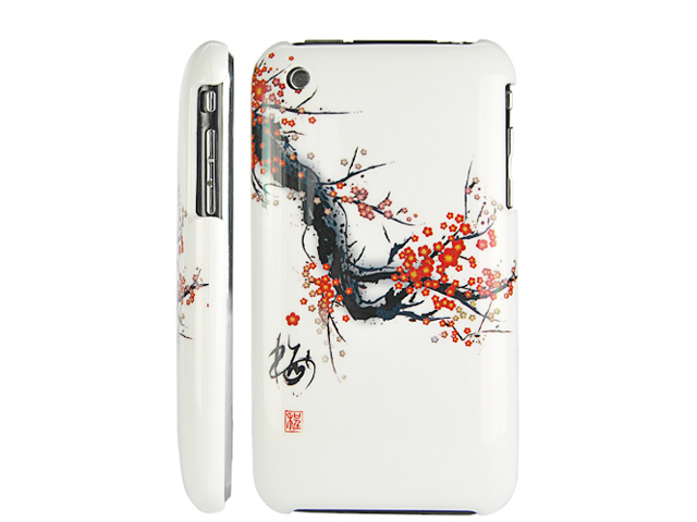 Chinese Blossom Back Case Hoes voor iPhone 3G/3GS