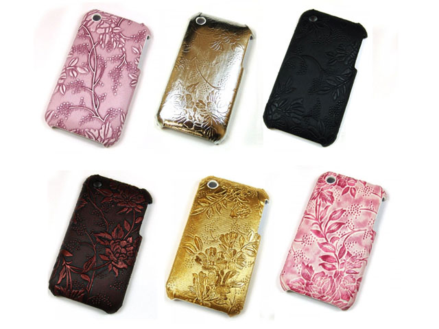 Leather Flowers Back Case Hoes voor iPhone 3G/3GS