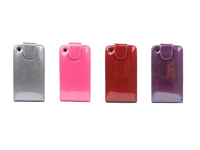 Glossy Leather Flip Case Hoes voor iPhone 3G/3GS