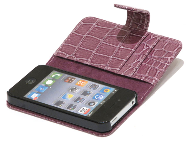 Color Croco Sideflip Case Hoesje voor iPhone 4/4S
