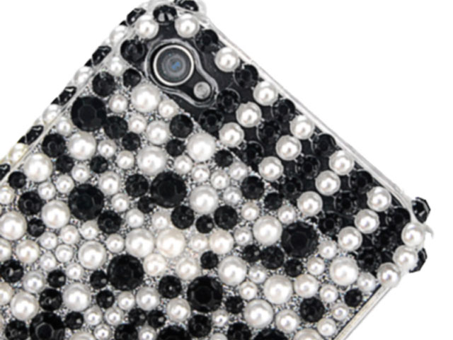 Black & White Pearl Back Case Hoes voor iPhone 4/4