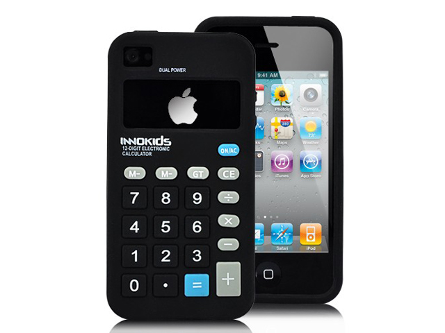 Funny Calculator Silicone Skin Case Hoes voor iPhone 4