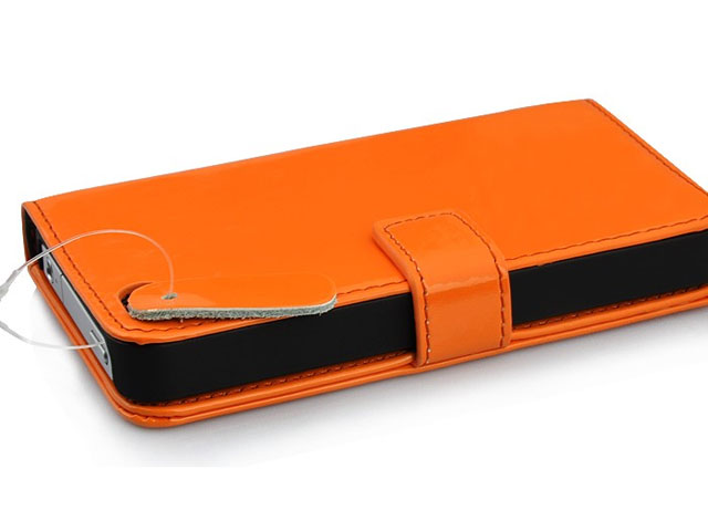 Glossy Leather Sideflip Case Hoesje voor iPhone 4/4S