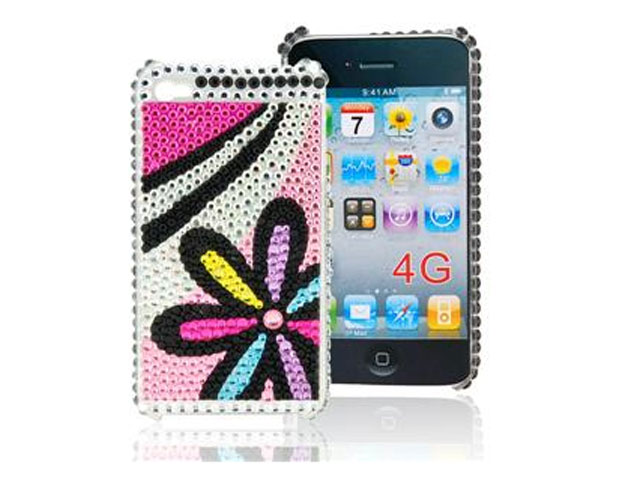 Diamond Case Hoes Funky Flower voor iPhone 4/4S