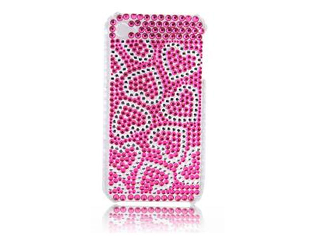 Diamond Case Hoes Pink Hearts voor iPhone 4/4S