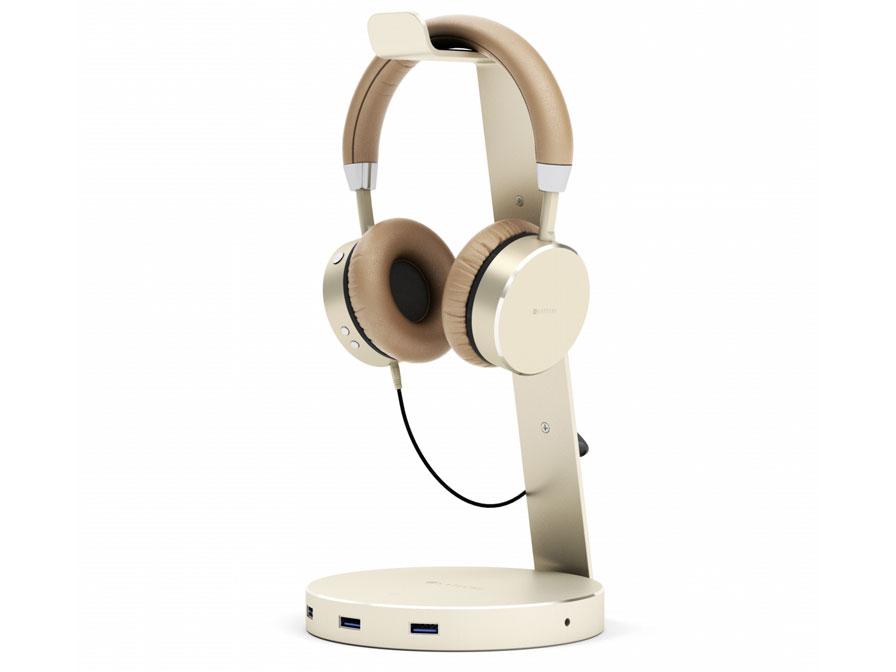Satechi Aluminium Headphone Stand met USB-Hub Goud