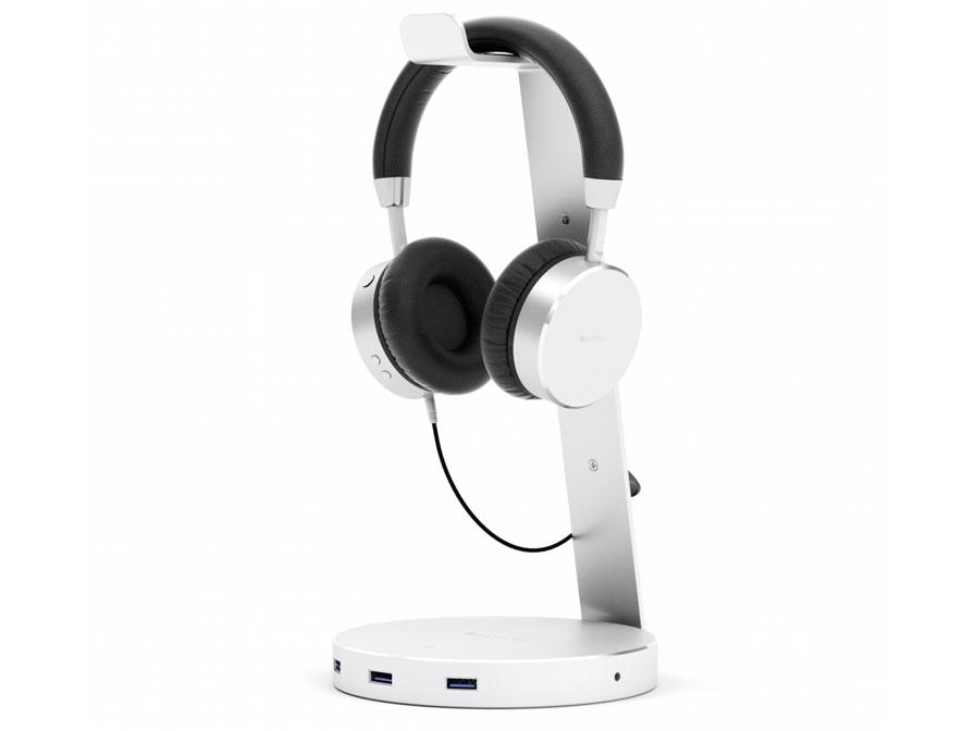Satechi Aluminium Headphone Stand met USB-Hub Zilver