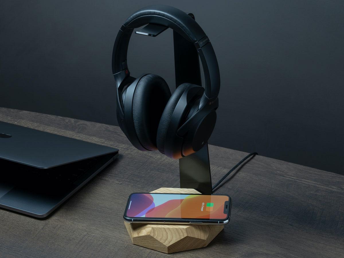 Oakywood 2 in 1 Headphone Stand met Draadloze Oplader Oak