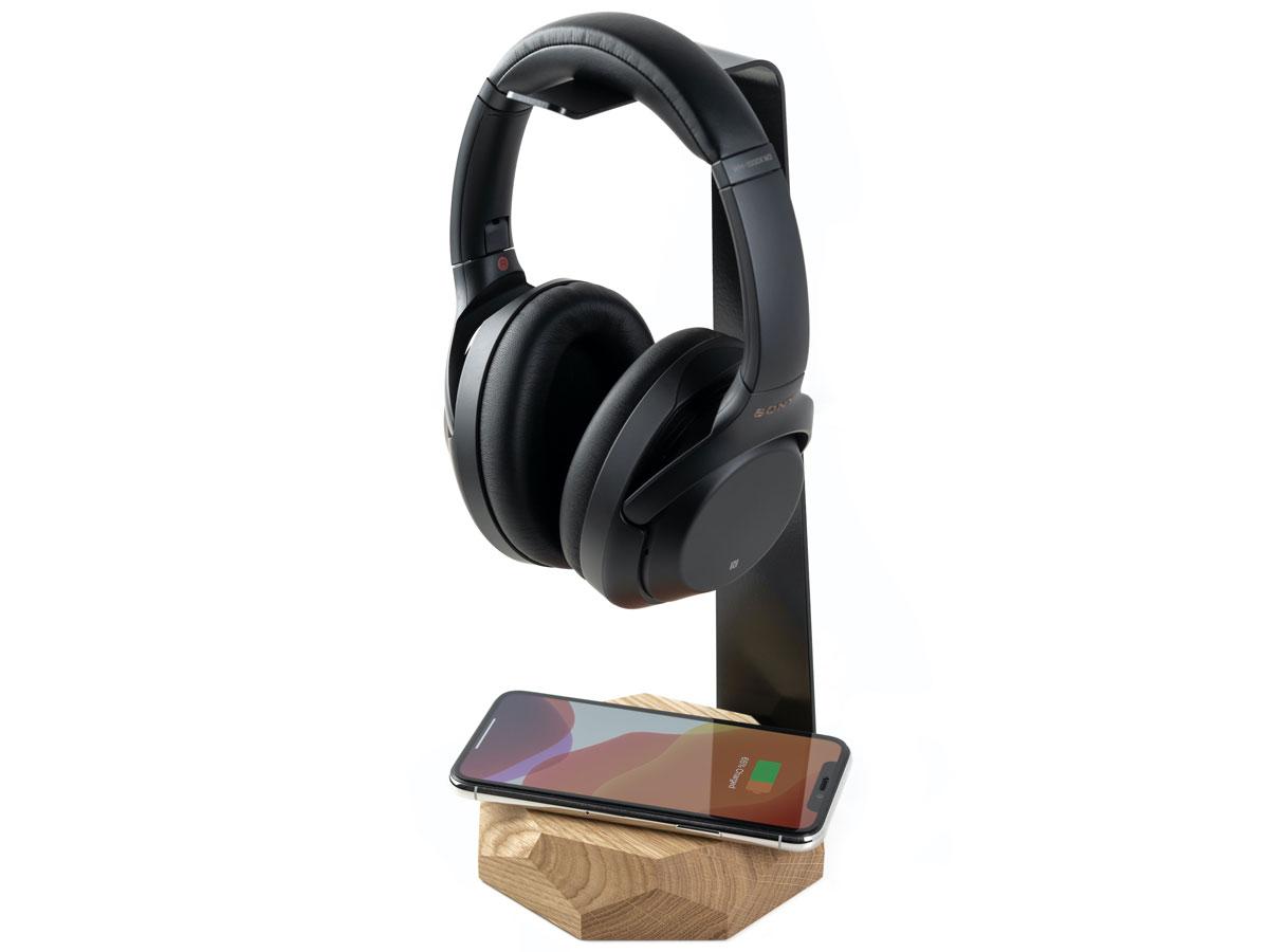 Oakywood 2 in 1 Headphone Stand met Draadloze Oplader Oak Eiken