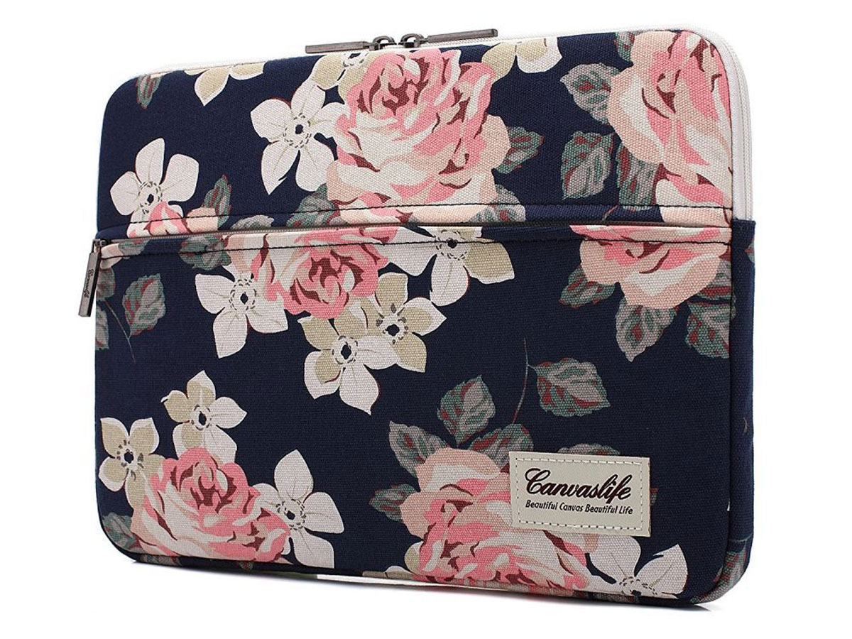 """Canvaslife Floral Laptop Sleeve Navy - 13"""" Laptop Hoes Donkerblauw"""