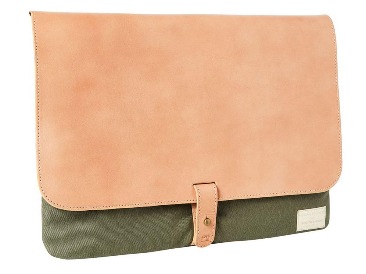abfcddb1827 Scotch & Soda Leather Canvas Laptop Sleeve Groen