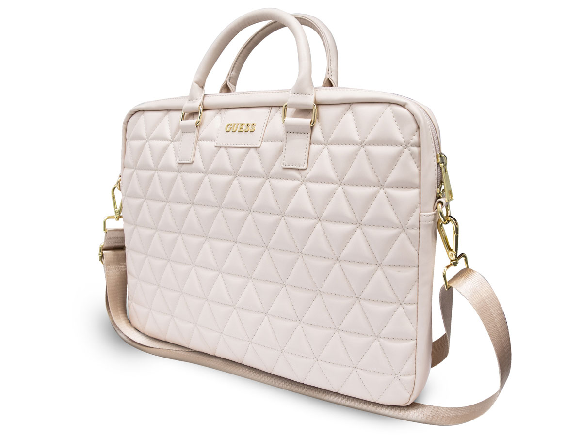 Guess Quilted Laptop Bag Roze - Laptoptas tot 15 inch
