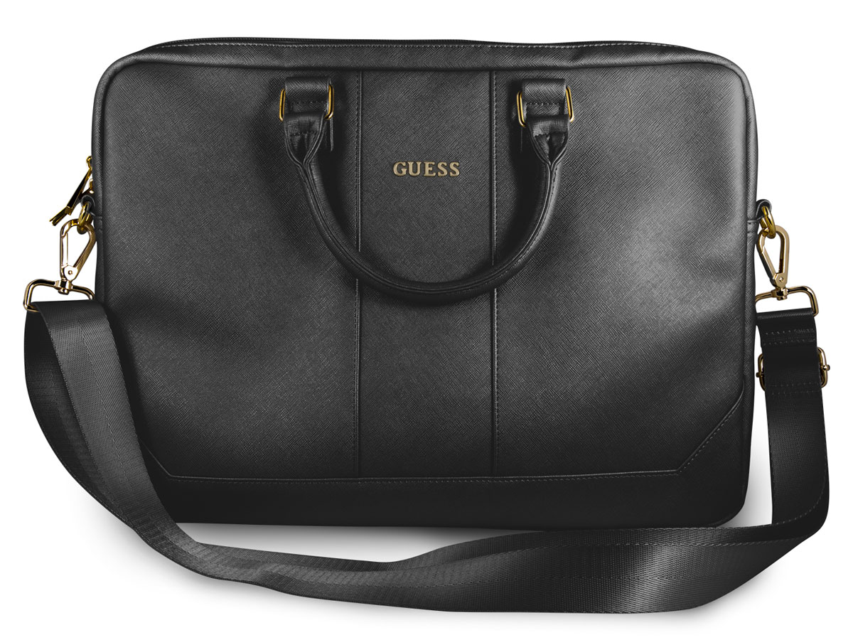 Guess Saffiano Laptop Bag Zwart - Laptoptas tot 15 inch