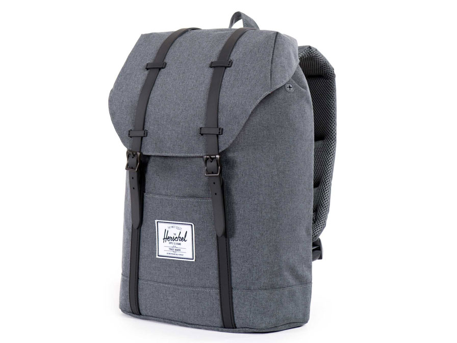 Herschel Retreat Rugzak met 15 inch Laptopvak (Charcoal Crosshatch)