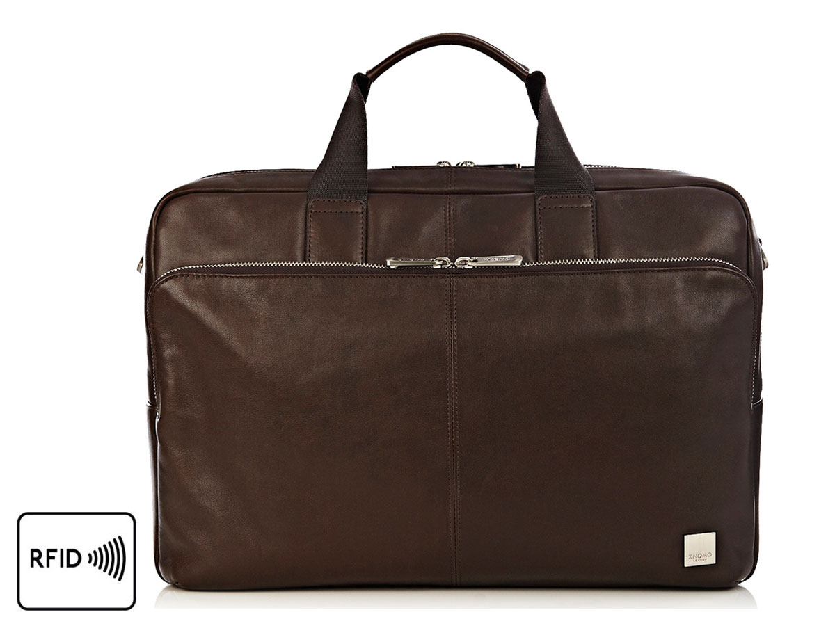 Knomo Amesbury Double Zip Brief - Leren Laptoptas tot 15 inch (Bruin)