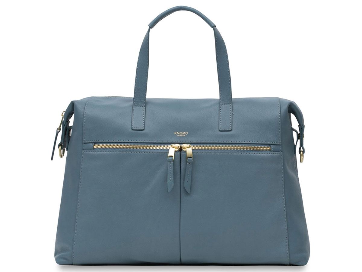 49b2e597e8c Knomo Audley Tote Blauw Leer - 14 inch Dames Laptoptas ...