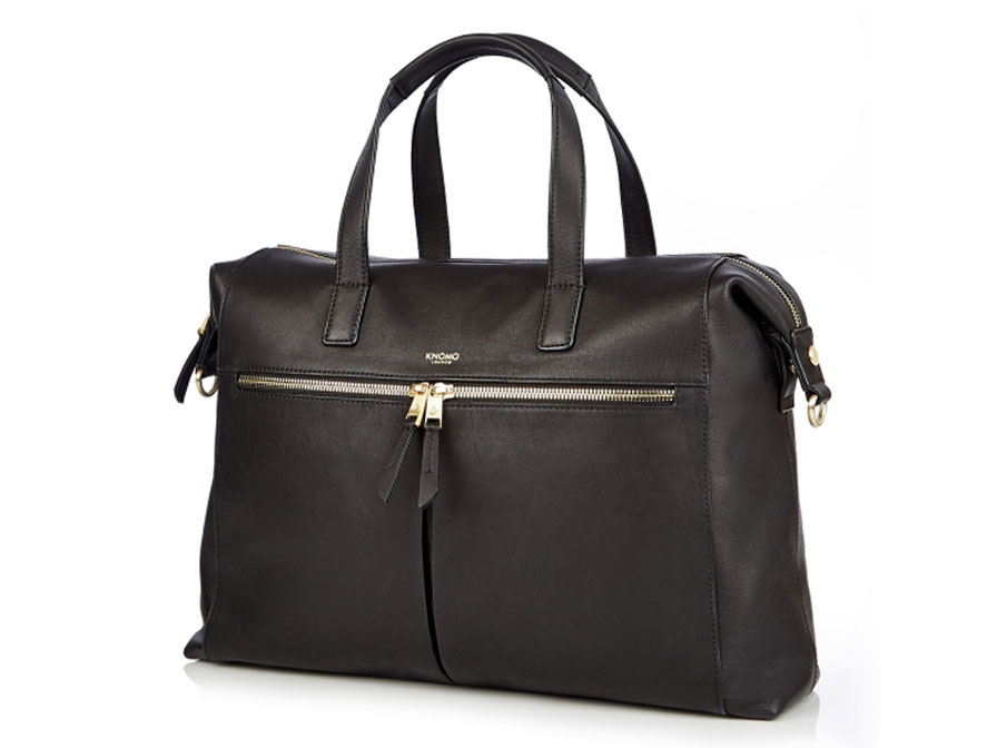 1ae52d6a2fa ... Knomo Audley Tote Zwart Leer - 14 inch Dames Laptoptas ...
