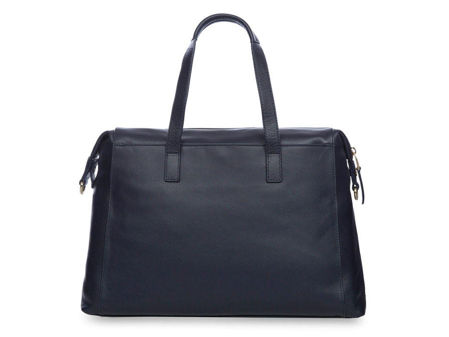 Knomo Audley Leather Tote Laptoptas tot 14 inch (Navy)