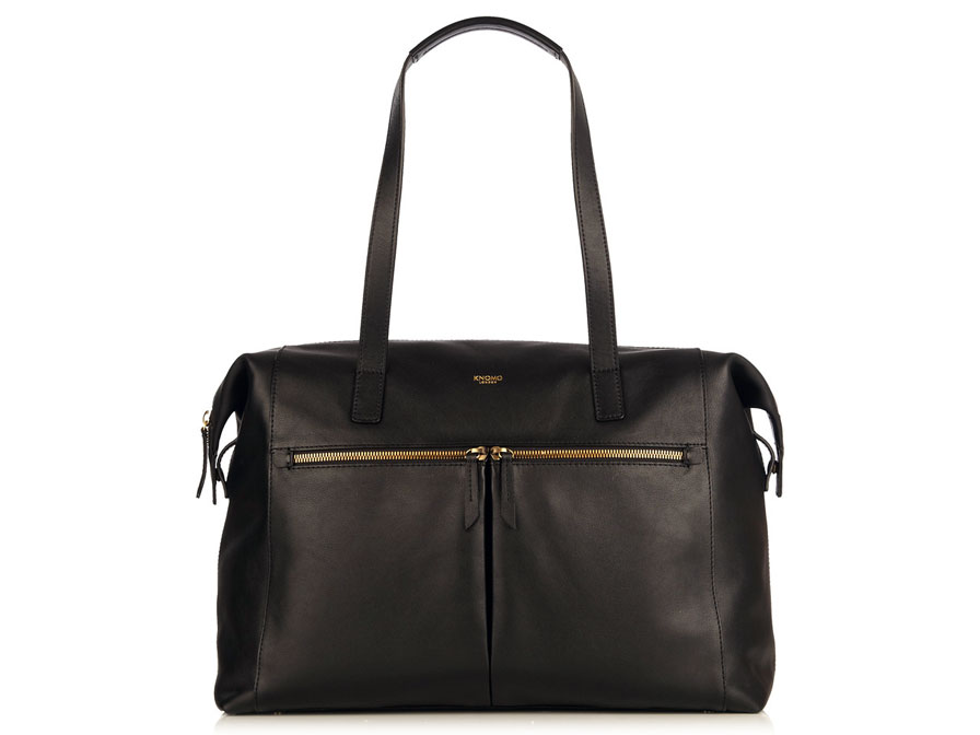 Knomo Curzon Laptoptas Leather Shoulder Tote (Zwart)