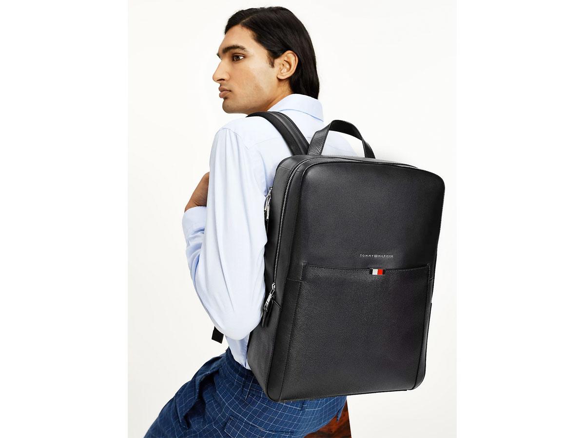 Tommy Hilfiger Business Backpack Zwart - Laptop Rugzak Leer