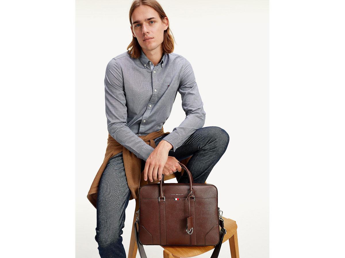 Tommy Hilfiger Business Slim Leren Laptoptas (Bruin)
