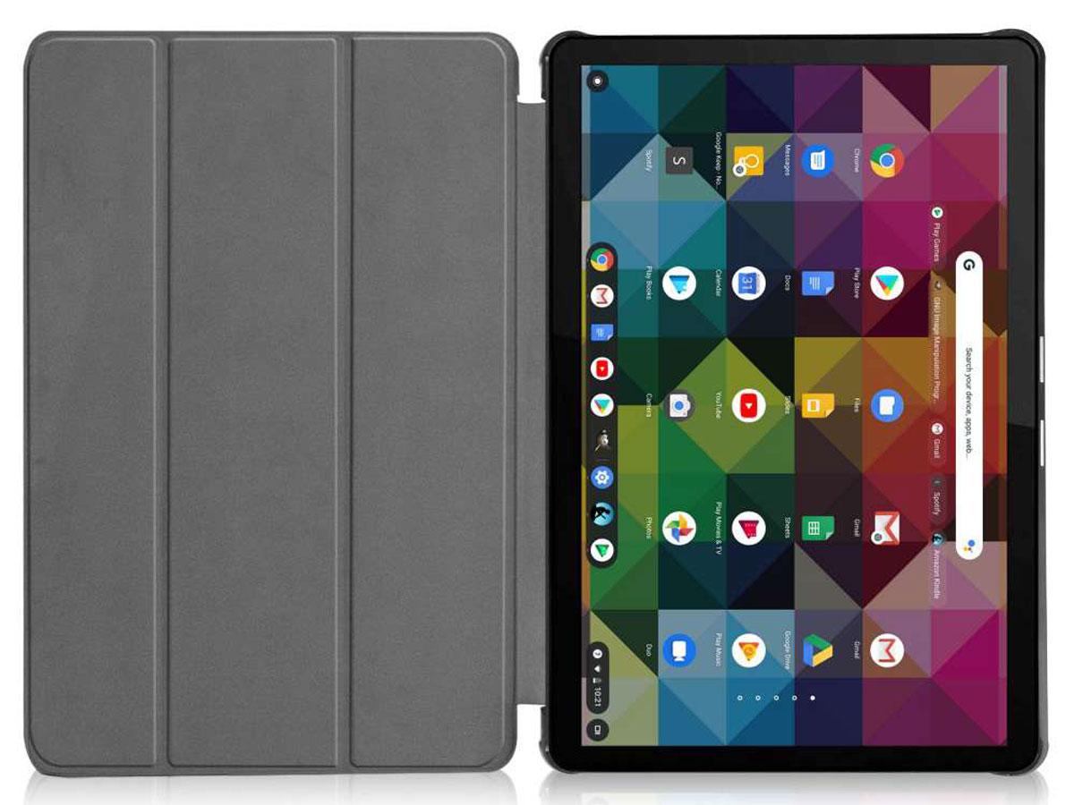 Smart Tri-Fold Bookcase Zwart - Lenovo Ideapad Duet Hoesje