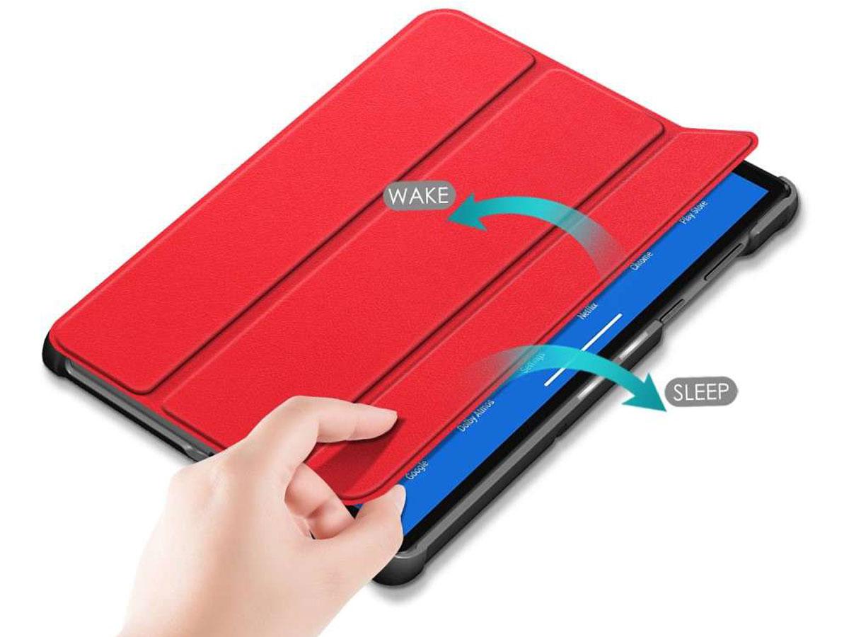 Smart Tri-Fold Bookcase Rood - Lenovo Tab M10 Plus Hoesje